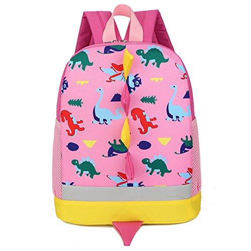 Leedy - Zaino per la scuola, per bambini, motivo: dinosauro, impermeabile, (Rosa), Taglia unica