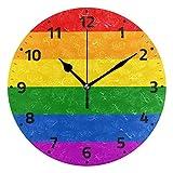 JONINOT Arco Iris Bandera Corazón Flor Paz Amor Reloj Sin tictac, Libertad Equaltiy Reloj Colorido Escritorio para Cocina Dormitorio Decoración del hogar