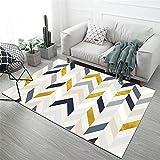 La alfombras Alfombra habitacion Juvenil Diseño geométrico Amarillo Amarillo de Color Rosa Azul fácil de Limpiar para Lavar la Alfombra Alfombra Dormitorio para Cocina 200X300CM