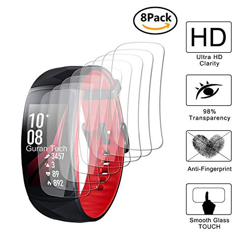 Guran [8 Stück] Bildschirmschutzfolie für Samsung Gear Fit2 Pro SM-R365 Smartwatch Volle Abdeckung Weicher Kompatibel Anti-Fingerprint HD Klar Schutzfolie Film