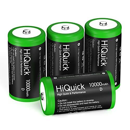 HiQuick Mono D Akku 10000mAh - 1,2V wiederaufladbare Batterien D Typ NiMH 4 Stück Akkus
