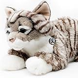 Tigerkatze EMELY Norwegische Waldkatze Maine Coon grau gestreift 48 cm Plüschtier von Kuscheltiere.biz