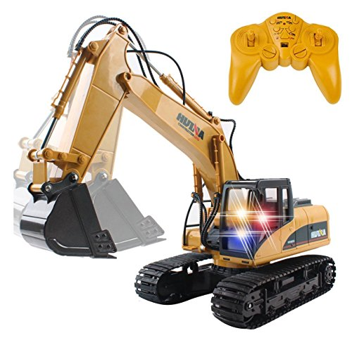 CrossRace Remote Control Excavator,15 Channel Full Functional RC Excavator Toy Toy Construction Tractor with Metal Shovel and Caterpillar