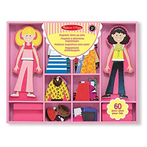 Melissa and Doug Gioco magnetico Bambole in legno con guardaroba magnetizzato: Vesti Abby&Emma