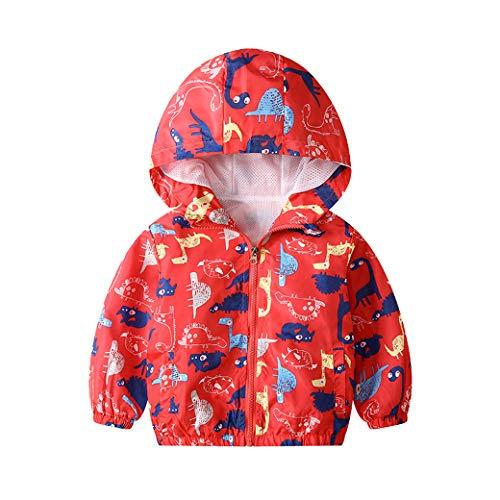 JinBei Bambino Cappotto Giacca a Vento Con Cappuccio Sottile Dinosauro Giacche e Cappotti Ragazzo Rosso Cerniera Primavera Autunno Protezione Solare Vestiti Impermeabile Abbigliamento 5-6 Anni