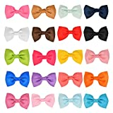 BUYGOO 20Pcs Haarspange Haarschleifen Clips für Mädchen - Baby Haarclips Haarklammern Haarschmuck aus Ripsband und Metall für Mädchen Kinder (20 farben)