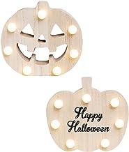 UKCOCO Halloween Houten Nachtlampje- Pompoen Nachtlampje Houten Pompoen Neon Licht/Led Craft Licht/Halloween Decoratie Lic...