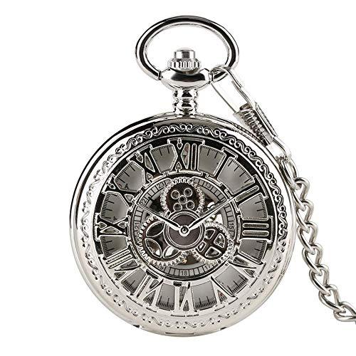Reloj de bolsillo, cubierta de engranajes huecos de plata MANA WINDING MECÁNICA CON CADENA DE 30 CM NUMERALES ROMANOS DE ROMANO DE MUJER DE MUJER DE DIAL DE SKEELTONES REGALOS DE RELOJ Reloj de bolsil