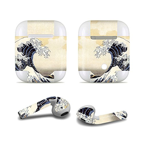 MasiBloom Bluetooth Headset Protective Sticker Protector Decal Skin Cover for Apple AirPods 2 & 1 with Charging Case, NOT Compatible with AirPods 2 Wireless Charging Case(for Apple AirPods, Wave)