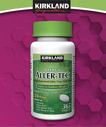 Kirkland Signature Aller-Tec Cetirizine HCL 10 mg/Antihistamine Tablets - 365 Tablets per Bottle