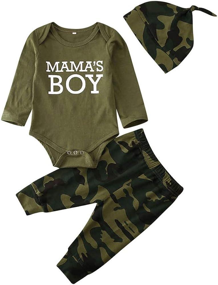 Infant Baby Boys Clothes Mama's Boy Long Sleeve Romper Bodysuit Jumpsuit Tops Camo Pants 3PCS Outfits Set