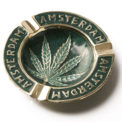 Spliff Messing Aschenbecher handgefertigt Amsterdam Cannabis Blatt (Ø 9 cm, Grün)