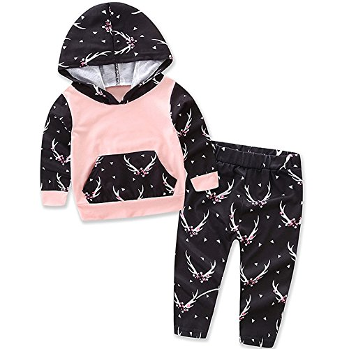 Baby Girls Sweatshirt Sets Floral Hoodie Tops Pants Sweatsuits Pocket Jogger Outfit