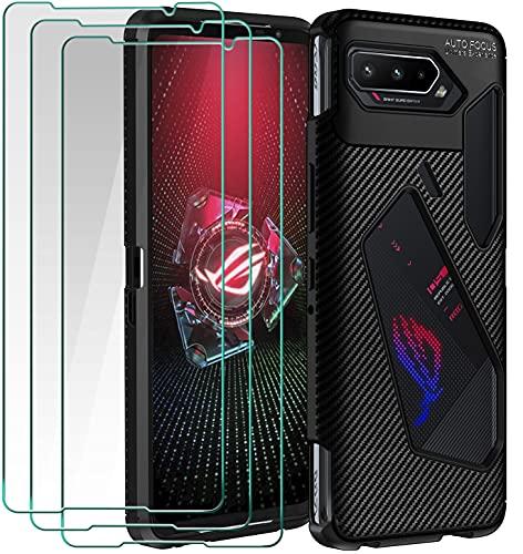 ivoler Funda para ASUS ROG Phone 5, con 3 Unidades Cristal Templado, Fibra de Carbono Carcasa Protectora Antigolpes Negro, Suave TPU Silicona Caso Anti-Choques Case Cover