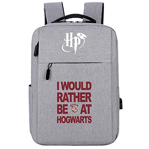 Mochila mágica de Hogwarts, Mochila para portátil de la Universidad, Bolsa de Ocio de Viaje de Harry Potter, Letra Gris