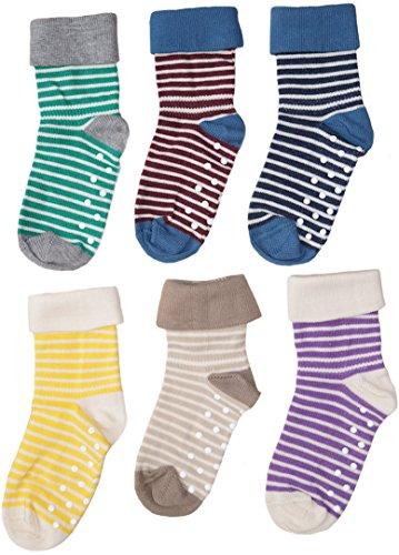 Enetal Natur&Baby und Kind 1-2-4-6 Paar Baby Kinder Socken Stoppersocken Bio-Baumwolle Gr.18 bis 26 ABS Antirutschsocken Babysocken Kindersocken (21-23, braun-Natur)