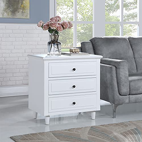 Bellemave 3-Drawer Nightstand, Wood Bedside Table Cabinet with Solid Pine Wood Legs, White