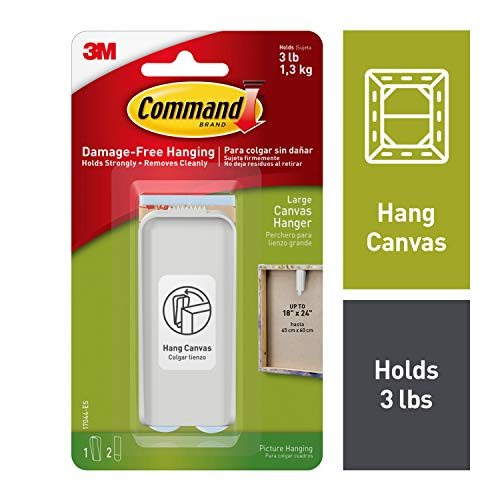 3 M Command grote canvas hanger wit kleerhanger en 2 strepen, acryl