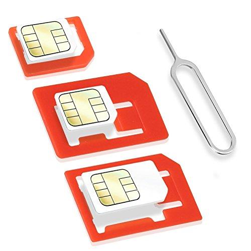 Wicked Chili 4in1 SIM Karten Adapter Set (Nano SIM, Micro SIM, Standard SIM, Eject Pin/SIM Nadel) für Handy, Smartphone und Tablet (passgenau, Click-Sicherung)