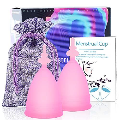 SPEQUIX Copa menstrual de silicona para mujer, tamaño pequeño o grande, taza para dama (Butterflycup-rosa, 2 pequeños)