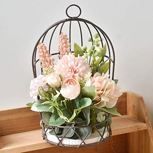 HIGHKAS Jaula para pájaros con Juego de Adornos Colgantes de Flores Artificiales, Jaula de pájaros de Metal, Cesta de hortensias de Rosas Falsas, decoración de Arte de Pared de jardín, Centro de Mes