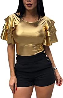 pujingge Womens Ruffle Short Sleeve Round Neck Solid Sexy T Shirt