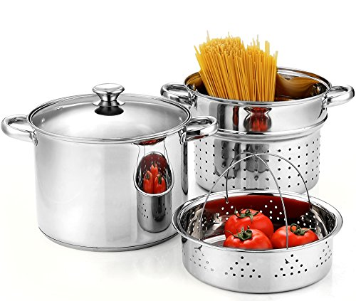 Cook N Home 02401, Stainless Steel 4-Piece 8 Quart Pasta Cooker Steamer Multipots