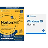 Norton 360 Deluxe 2021 | Antivirus software for 5 Devices [Key Card] (Renews to 12-Month Subscription) and Microsoft Windows 10 Home [Download]