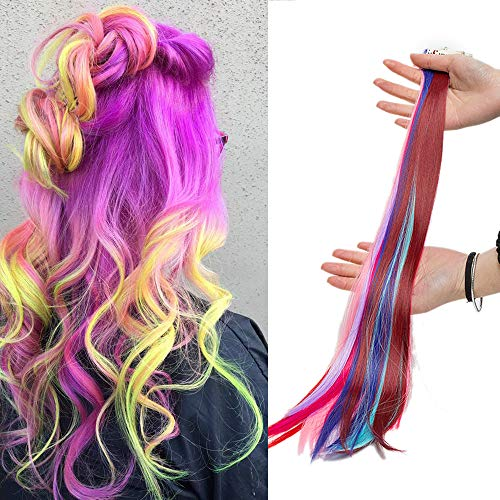 Elailite Extension Colorate 10 Fasce Capelli Colorati Lisci Clip in Hair da Donna Bambina Cosplay Halloween Festa Posticci Lunghi 50cm Pesa 80g, Multi Colori