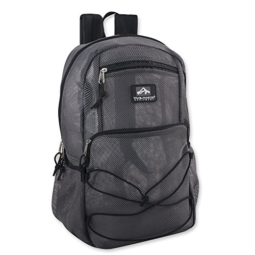 Collapsing Deluxe Mesh Backpack, Trailmaker Mesh Backpack with Bungee Cord & Adjustable Padded Straps (Grey)