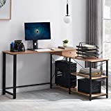 L-Shaped Computer Desk, Industrial L Shaped Desk with Shelves and Drawer, Corner Wood and Metal Home Office Workstation, 55 Inch