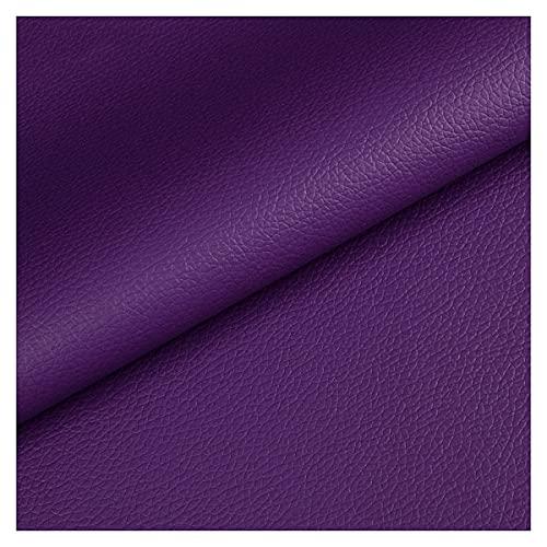 NIANTONG Púrpura Tela de Imitación de Cuero Tela Imitación de Cuero Impermeable de 140x100 Cm para Tapicería, Automóvil, Manualidades, por Metros(Color:Morado Oscuro)