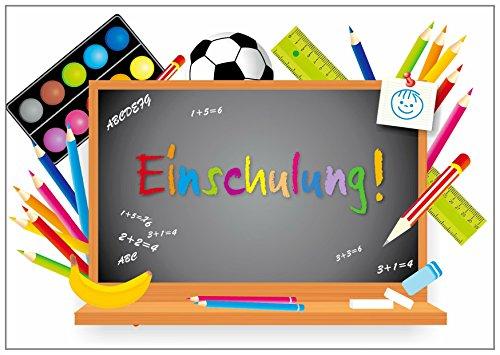 12 uitnodigingen voor de eerste schooldag, schoolbordje, 12 ansichtkaarten in DIN A6-formaat (14,8 x 10,5 cm), kleurrijke uitnodigingskaartenset voor de eerste school/schoolstart (10728)