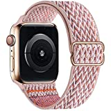 OHCBOOGIE Stretchy Solo Loop Strap Compatible with Apple Watch Bands 38mm 40mm 42mm 44mm ,Adjustable Stretch Braided Sport Elastics Nylon Women Men Wristband Compatible with iWatch Series 6/5/4/3/2/1 SE