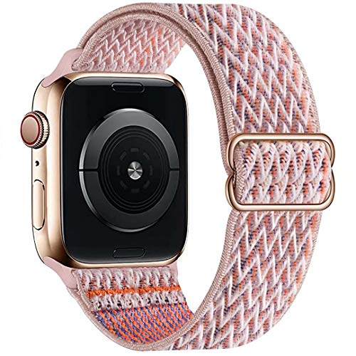OHCBOOGIE Stretchy Solo Loop Strap Compatible with Apple Watch Bands 38mm 40mm ,Adjustable Stretch Braided Sport Elastics Weave Nylon Women Men Wristband Compatible with iWatch Series 6/5/4/3/2/1 SE
