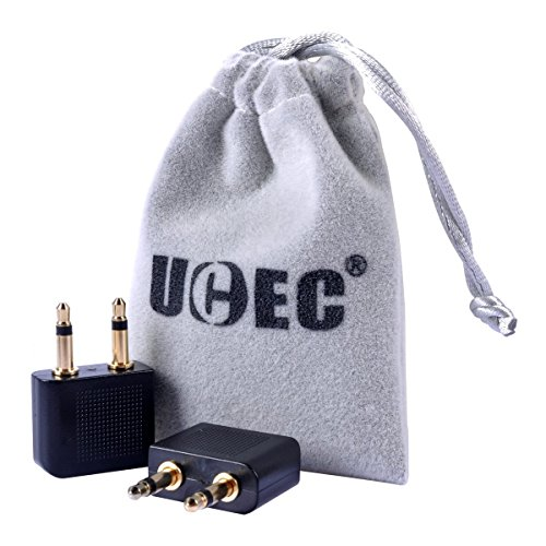 Airplane Headphone Adapter, UCEC 3.5mm Golden Plated Airline Earphone Adapter for in-Flight Entertainment System, 2 Pack