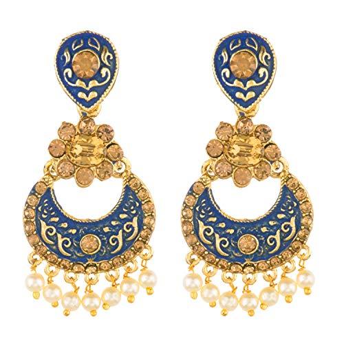Efulgenz - Parure di orecchini da sposa in stile indiano Bollywood, placcati in oro, con perle finte di cristallo Kundan blu Chandbali