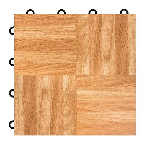 IncStores 3/8 Inch Thick Practice Dance Floor Tiles   Printed Plastic Dance Flooring for Practice and Performance of Countless Dance Styles   Oak, 52 Tiles