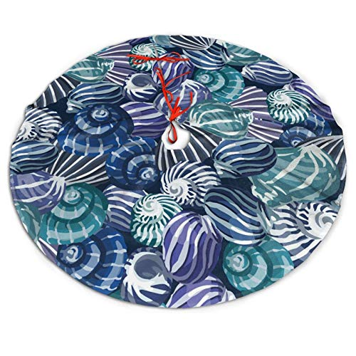 Nautical Sea Shell Beach Coasta Beachy Funny Colorful Nave Blue Themed 36 Inch Big Christmas Plush Tree Skirt Carpet Mat Rugs Cover Large Round Pad Classic Xmas Party Favors Ornament Decoration