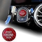 NEFELI Etiqueta engomada de la cubierta del botón de la parada del motor del coche de fibra de carbono para Mercedes A B clase W177 GLB W247 CLA C118 AMG GLE W167 GLS X167 W464 (rojo)