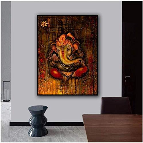 Lienzo de arte de pared 40x60 cm sin marco hinduismo arte de pared religión Ganesha carteles e impresiones imagen decorativa decoración del hogar