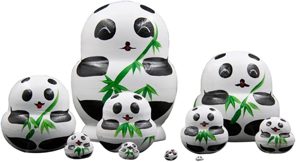 ZANZAN Indianapolis Mall Under blast sales Matryoshka Set 10Pcs Panda Nesting Dolls Handmade Wooden
