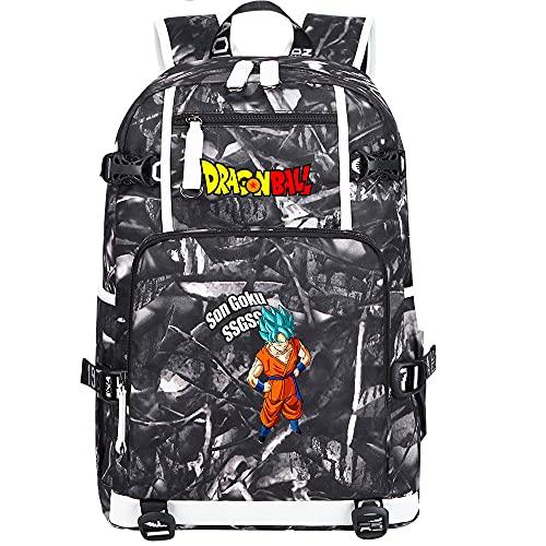 ZZGOO-LL Dragon Ball Son Goku/Vegeta IV/Torankusu Anime Laptop Backpack Bag Travel Laptop Daypacks Bolso Ligero con USB-A