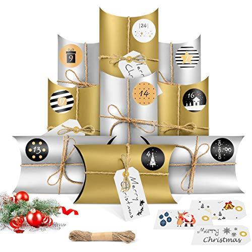 Adventskalender zum Befüllen, 24 Adventskalender Geschenkbox mit 24 Zahlenaufklebern und 10M Hanfseil, Weihnachtskalender Bastelset, Adventskalender Selber Basteln (Gold Silber)