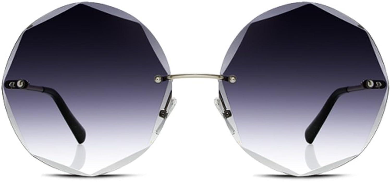 YUBINtaiyangjing Net Red Round Frameless Sunglasses Female Tide Star Models Korean Version Personality Sunglasses Tide Glasses (color   Black)