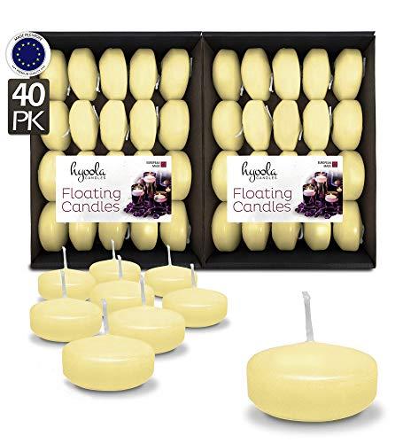 Hyoola Premium Avorio Galleggiante Candele 5,1 cm - 4 Ore - Confezione da 40 - Prodotto in Europa