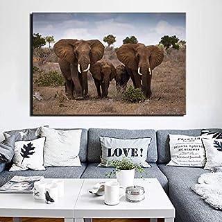 ganlanshu Pintura de Lienzo Paisaje Arte de la Pared Pintura de Rancho Africano decoración de la Pared Familia del Elefante,Pintura sin Marco,40X60cm