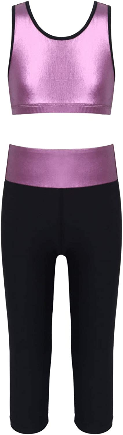 Agoky Big Kids Girls Sleeveless Metallic Glossy Crop Top with High Waist Legging Pants Outfits Gymnastic Yoga Sportsuit