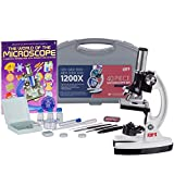 AmScope 1200X 40-pcs Kids Student Beginner Microscope Kit with Slides, LED Light, Carrying Box and Book'The World of The Microscope'