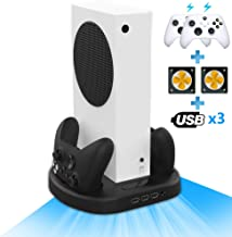 Vertical Stand for Xbox Series S with 2 Cooling Fan, 2 Charging Station for Xbox Series S Console with Controller Charger ...